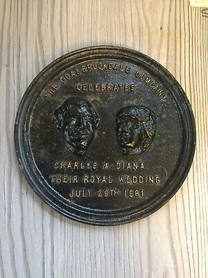 Rare Coalbrookdale Company Charles And Diana Cast Iron Wedding Plaque Salvage
