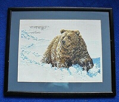 Counted cross stitch picture large, framed, wildlife, brown bear