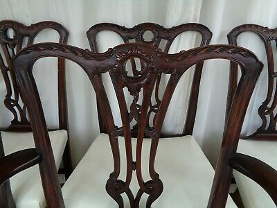 8 Antique Victorian Mahogany Dining Chairs In Chippendale Georgian Revival Style