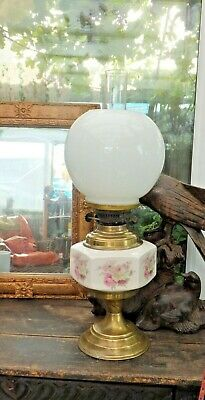 Antique Victorian Oil lamp Hexagonal Rose Painted Well  Brass Base Dual Burners.