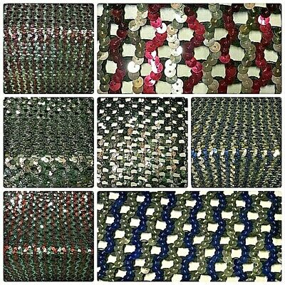 "Sequin Fabric Glitter Bling Material Sequins By The Metre All Colours 50"" Wide"