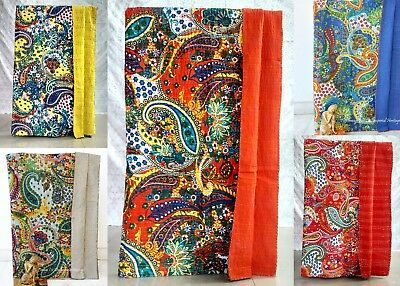 Indian Hand-made Cotton Kantha Blanket Quilt Throw Twin Vintage Cotton Bed-Cover