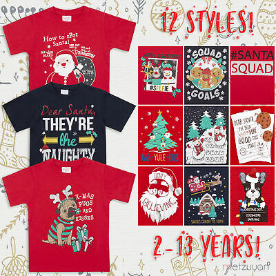 Childrens Girls Boys Xmas T-Shirts Printed Christmas Design 100% Cotton 2-13 Yrs