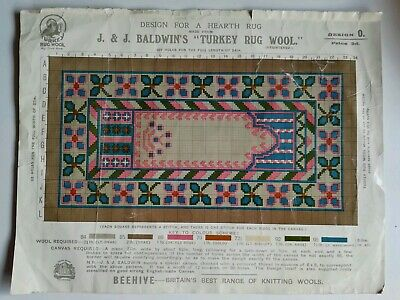 Rare Vintage original Rug Pattern - J & J Baldwins Hearth Rug - Turkey Rug Wool