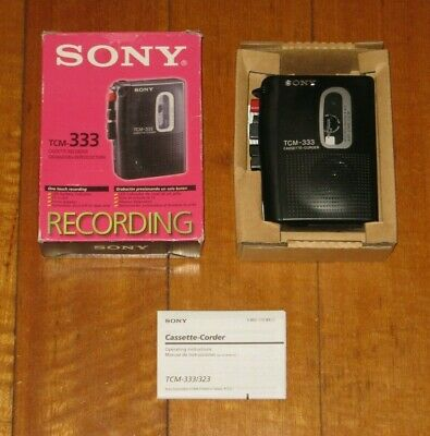 SONY TCM-333 Cassette Recorder - Complete In Box - Recording - Black - VGC