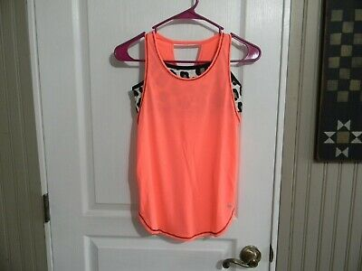 Nwt Justice Girls  Active Performance 2Fer Tank  14 Bright Peach Poly