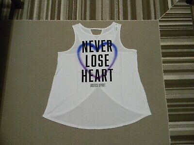 Nwt Justice Girls  Active Positive Message Cross Back Tank  White  14/16
