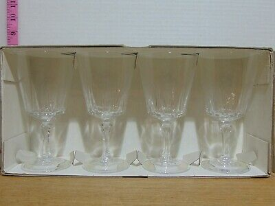 4 Mid Century Versailles 24% Lead Crystal Goblets Made In France In Original Box