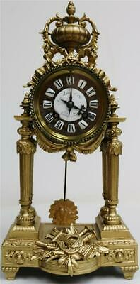 Beautiful Antique French Empire 8 Day Gilt Metal Portico Mantle Clock