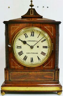 Deluxe Antique Regency English Rosewood & Brass Single Fusee 8 Day Bracket Clock