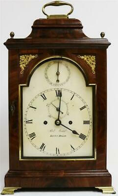 Rare Antique English C1800 Walnut Double Fusee Bell Top Striking Bracket Clock
