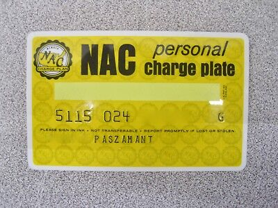 NAC National Acceptance Corporation Personal Charge Plate Credit Card Unsigned