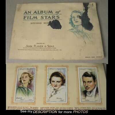 1930s Players Cigarette Cards Album of Film Stars 49 Cards