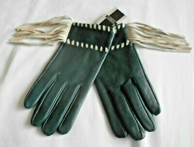 """""""Tie Rack"""" Fabulous Green Leather Gloves With Cream Fringing Bnwt!!!"""