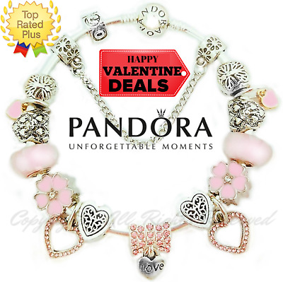 Pandora Charm Bracelet Silver Pink Silver VALENTINE LOVE with European Charms