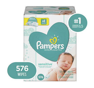 Newborn Sensitive Skin Baby Wipes Perfume Alcohol Free Super Soft PAMPERS 576 Ct