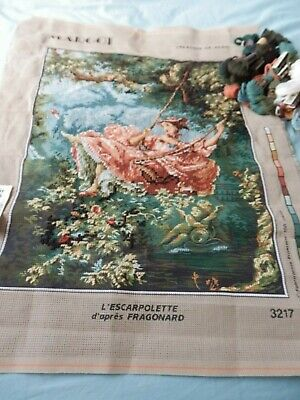 Part completed Tapestry/Needlepoint Lady on a Swing By Fragonard from Margot