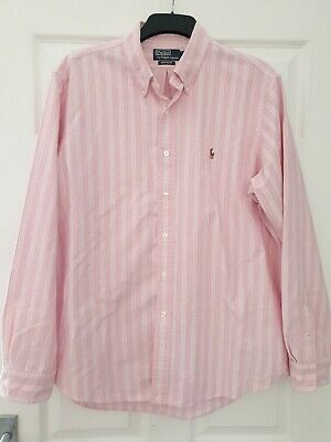 Polo Ralph Lauren Pink And White Striped Long Sleeve Shirt Size XL custom fit