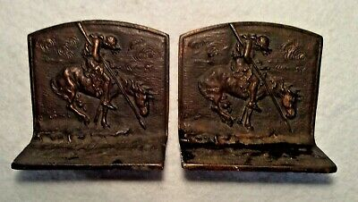 VINTAGE 1920's End of the Trail Native American Indian Bookends Bronze Cast