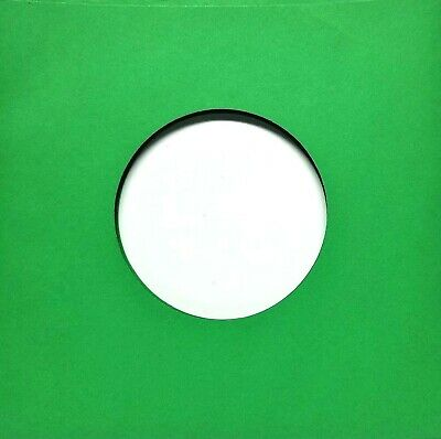 12 Paper Record Sleeves (Green) - Inner Sleeves 7in w/ cntr hl for 45 RPMs