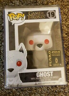 Funko POP! Game of Thrones Flocked Ghost SDCC 2014 Exclusive w/ Hard Stack