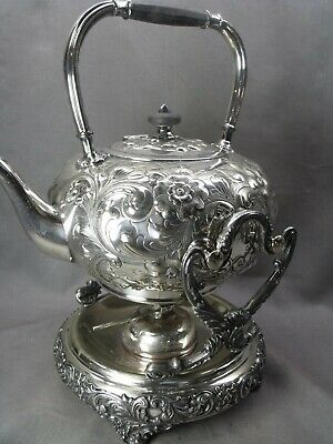 Antique Repousse  Silver Plate Florals  Barbour Hot Water Tilting Pot On Stand