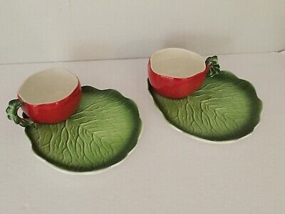 2 Holt Howard Red Tomato Cup and Leaf Plate Snack Soup Sandwich Set