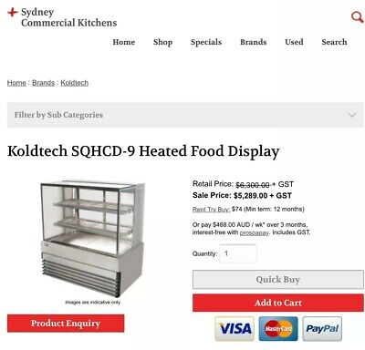 Commercial Restaurant Cafe KOLDTECH Display Pastry Pie Warming Oven RRP $5290