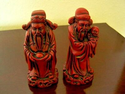 Vintage Set 2 Red Resin Chinese Immortal Figurines Feng Shui Gods