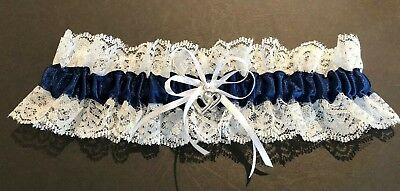 Wedding Garter  -  White/Navy Blue/Lace - Small, Medium Or Large