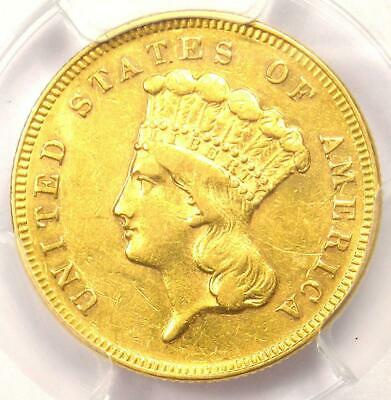 1868 Three Dollar Indian Gold Coin $3 - Certified PCGS AU Details - Rare Date!