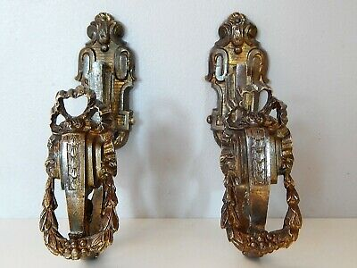 Pair Antique French Bronze Curtain Tie Back Hooks Made 18th Century ,Bracket