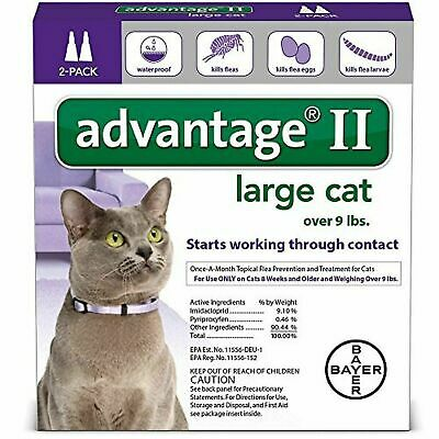 Advantage II Flea Control Large Cat (for Cats over 9 lbs.) 2 Month Supplies 2 Pk