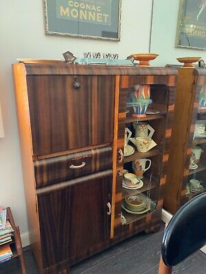 Art Deco glass-fronted wooden cabinet