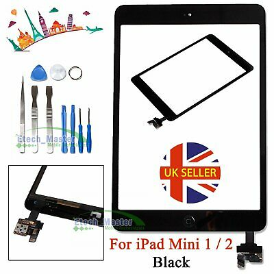 For iPad mini 1/2 Touch Glass Digitizer Screen Replacement +IC Home Button Black