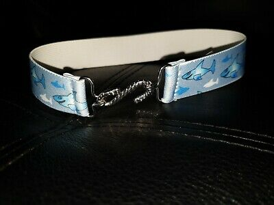 Marks And Spencer Uk Boys Size 2 - 4 Years  Elasticated Blue Belt Shark Print