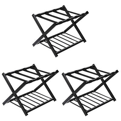 Set of 3 Folding Metal Luggage Rack Suitcase Shoe Holder Hotel Guestroom w/Shelf