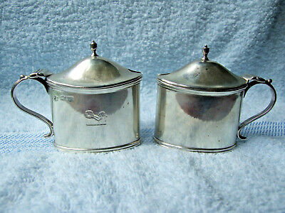 Pair Hallmarked Silver Lidded Mustard Pots, TB&S, London 1907, Only 1 Blue Liner