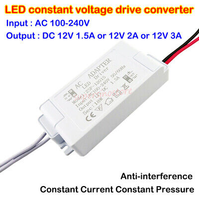 AC 110V 220V 240V to DC 12V LED Constant Voltage Adapter Drive Power Converter