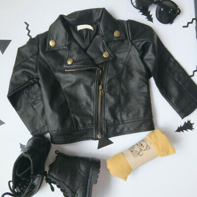 Toddler Kids Boys Girls PU Leather Jacket Motorcycle Zipper Outerwear Coat AU