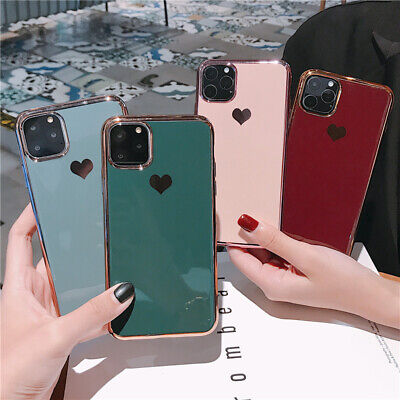 Luxury Concise Love Heart Plating Soft Girls Case Cover For iPhone 11 Pro XS Max