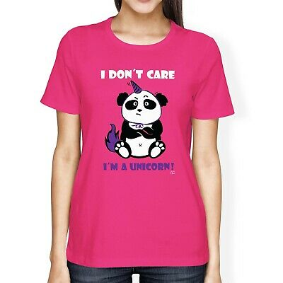 1Tee Womens Loose Fit I Don't Care I'm a Unicorn Cute Panda in Disguise T-Shirt
