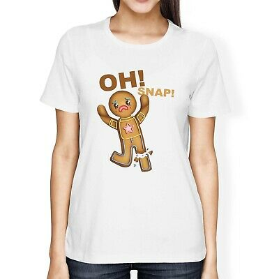1Tee Womens Loose Fit Oh Snap Gingerbread Man with Snapped Leg T-Shirt