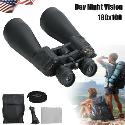 180x100 Zoom Day Night Vision Outdoor Travel Binoculars Hunting Telescope w/Case