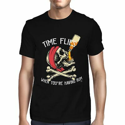 1Tee Mens Time Flies When You're Having Rum Pirate T-Shirt