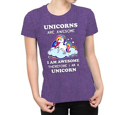 1Tee Womens Unicorns Are Awesome Therefore I am A Unicorn T-Shirt