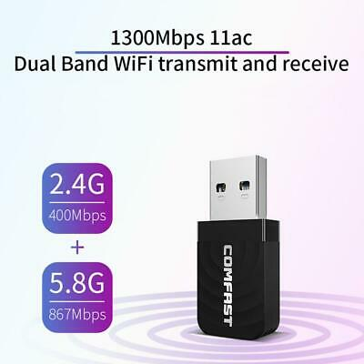 COMFAST Mini USB 3.0 Wireless Network Card 1300Mbps Ethernet WiFi Dongle Adapter