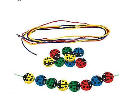 Wooden Counting Lady Bugs Threading Activity Educational Activity for Kids