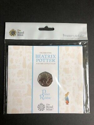 2017 Royal Mint Brilliant Uncirculated Peter Rabbit 50p Fifty Pence coin pack.