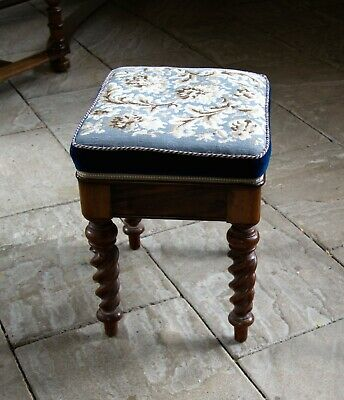 ANTIQUE EARLY VICTORIAN MUSIC STOOL with lift up seat.